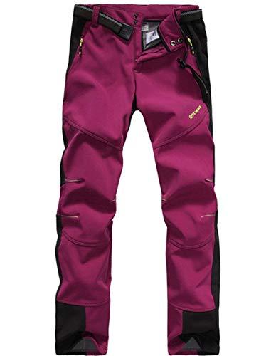 Lakaka Damen Trekkinghose Warm Softshell Fleece Lang Wasserdicht Schnelltrocknen Camping Wandern Trekking Hosen (EU XS (Tag M), Red)
