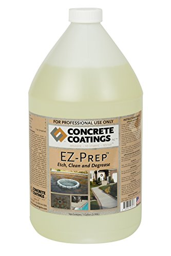 CC Concrete Coatings EZ-PREP Etch, Clean, degrease and Remove Rust from Concrete for Interior and Exterior use 1Gal