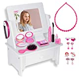PixieCrush: Wooden Beauty Vanity Play Set – Vanity Set with Mirror Gift for Girls Aged 3, 4, 5 ,6 ,7 – Vanity Set with Mirror Princess Toys – Kids Vanity Set for Girls – Vanity Mirror with 15-Piece