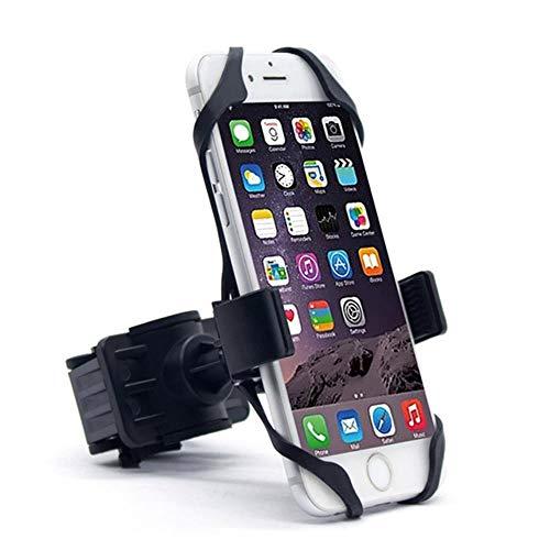 K-ONE Silikon Fahrrad Motorrad Lenkerhalterung Halterung Handy GPS Mountainbike Rack Ständer für iPhone Samsung Xiaomi S10 S9 Plus, Schwarz