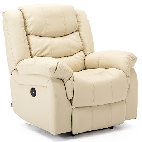 More4Homes (tm) SEATTLE ELECTRIC AUTOMATIC RECLINER ARMCHAIR SOFA HOME LOUNGE LOUNGE BONDED LEATHER CHAIR (Cream)