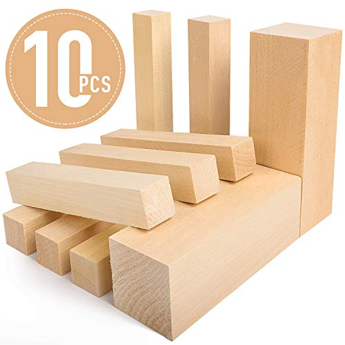 Bloques de tallado de madera de tilo - 5ARTH Kit de tallado/tallado en madera premium para principiantes, 10 piezas con dos de 15 x 5 x 5 cm y ocho de 15 x 2,5 x 2,5 cm