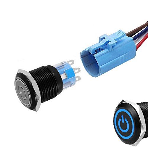 werfamily Angel Eye LED 19mm resistente al agua negro carcasa redonda de metal con/tipo momentáneo Push Button interruptor 5pins 1NO 1NC SPDT con alambre Socket Plug