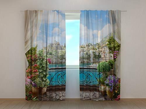 Wellmira Fotogardinen, Vorhang mit Fotodruck, Fotovorhang mit Motiv, Bedruckte Gardine, Maßanfertigung (Blackout, 245x290 cm)