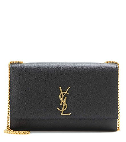 100% authentic Made in Italy Gold leather Gold hardware YSL logo A structured silhouette of rich grained leather serves as a luxe complement to the gleaming goldtone insignia on which the design is centered - a simple and elegant nod to the Yves Sain...