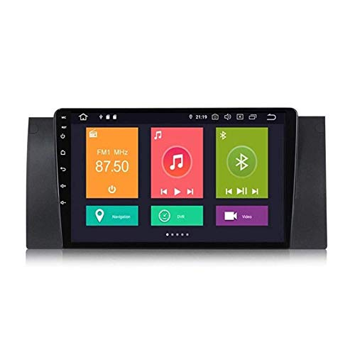 FDGBCF 9 Inch Android 10.0 Double DIN GPS Navigation Head Unit for BMW E39, Bluetooth/FM/RDS/Radio/Mirrorlink/Rear Camera/Steering Wheel Controls,4 Core-WiFi: 4+64G