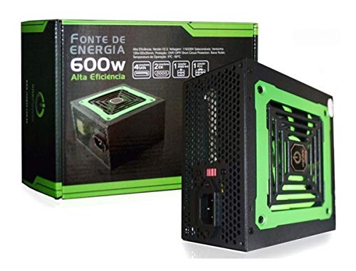 Fonte 600W ONE POWER - 70% Eficiência - MP600W3-I, Preto, ATX