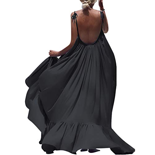 LISTHA Beach Backless Maxi Dress Women Boho Sleeveless Summer Party Long Dress Black