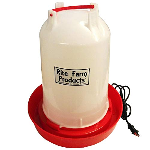 Rite Farm Products 3.7 Gallon Heated Poultry Chicken Waterer Drinker with LED's