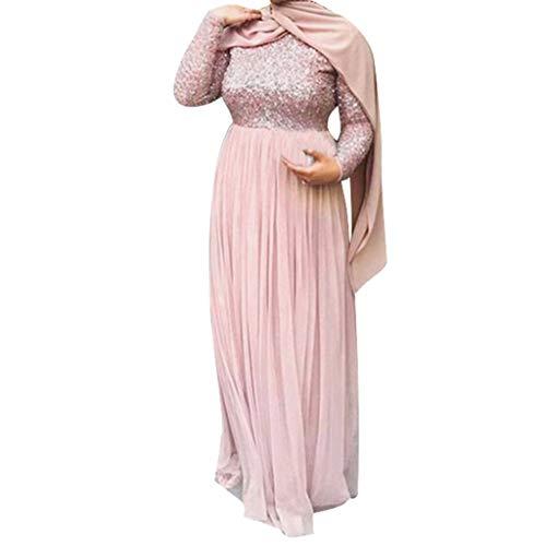 Lazzboy Muslimische Abend Maxi-Kleid Muslimischen Kleider Frauen Spitze Pailletten Strickjacke Maxikleid Abaya Kaftan Dubai Paillettenstickerei Der Moslemischen(Rosa,3XL)