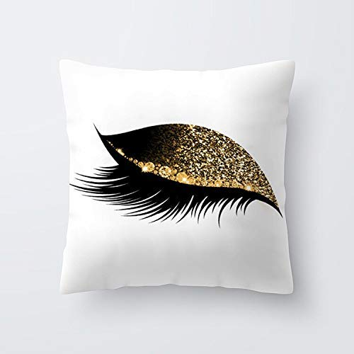 phjyjyeu 4545 Cm Pillow Cases Beautiful Eyes Print Eyelash Out Soft Velvet Solid Pillow Cover For Home Office Tool Decorative 18' X 18'(IN)