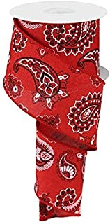 Bandana Canvas Wired Edge Ribbon, 2.5 Inches x 10 Yards (Red)