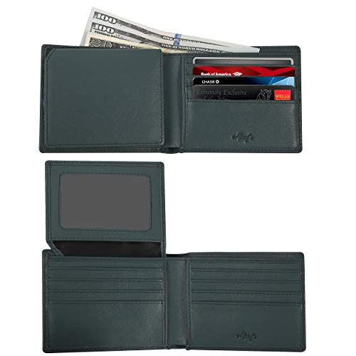 RFID Wallets for Men - Real Leather Bifold Wallets - Thin & Slim RFID Blocking Security Wallet (Light Blue)