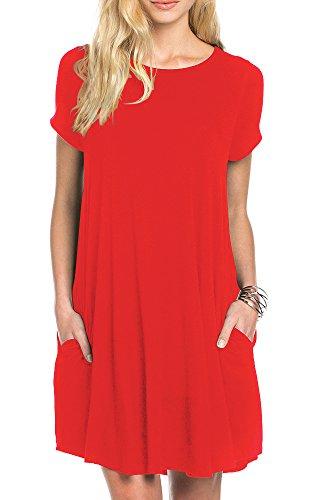 TINYHI Women's Swing Loose Short Sleeve Tshirt Pocket Tunic Dress,Red, Medium