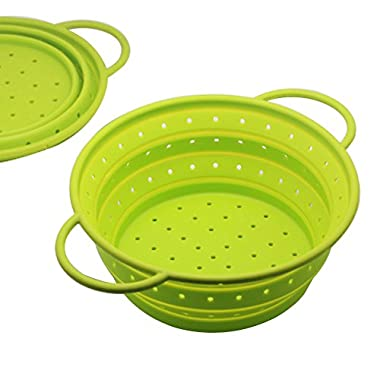 Safe Silicone Collapsible Colander Strainer Fruit Basket Portable Storage for Outdoor Travel Camping Hiking,10.04 (7 Quart),Easy to Carry and Store (Large, Green)