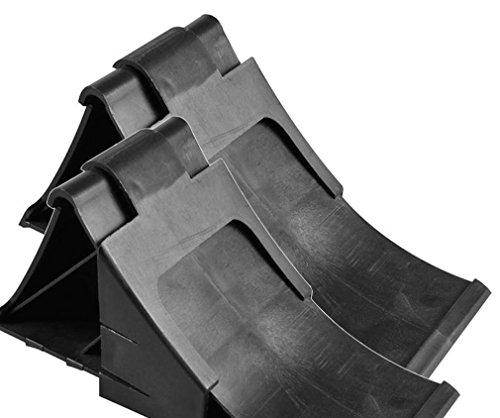 Komplett-Set: Unterlegkeile incl. Halter 2 Stück schwarz - 2000 kg - Bremskeil Anhänger Keile bis 2t