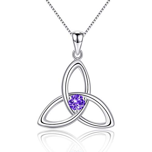 Irish Celtic Triquetra Knot 925 Sterling Silver Natural Amethyst February Birthstone Pendant Necklace for Women Fine Jewelry Birthday Gift