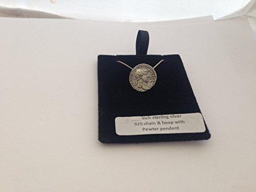 Collar de plata de ley 925 con efecto de peltre inglés HADPIN de Hadrian Coin