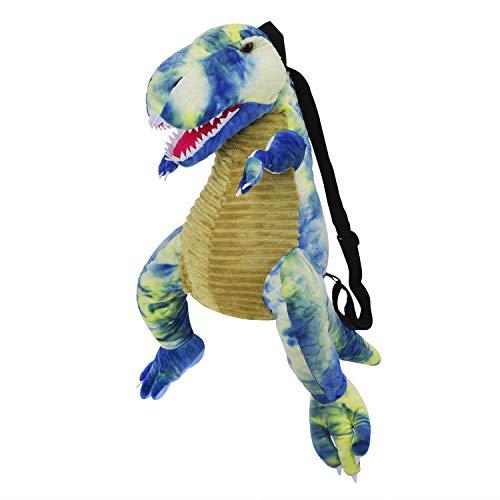 Mochila de dinosaurio para niños, diseño de pelusa de dibujos animados, color azul