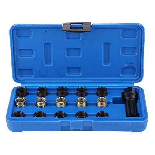 Estink Kit de réparation de filetage de bougie d'allumage 16 pièces en acier 14 mm x 1,25 mm robinet M16 livré avec étui de transport portable