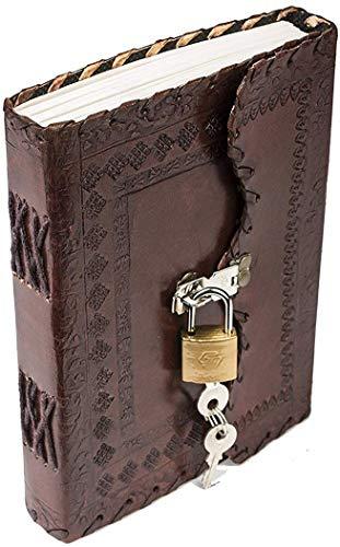 CPLEATHER Leder-Tagebuch mit Schloss, Notizblock, Schreibbuch mit Schloss & Schlüssel, handgefertigtes Papier,...