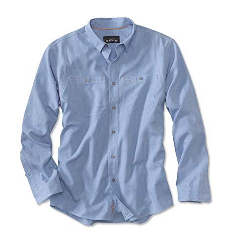 Orvis Men's Tech Chambray Work Shirt/Only Regular, Medium Blue, Large