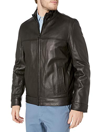 Tommy Hilfiger Men's Smooth Lamb Leather Stand Collar Jacket, Black, Large