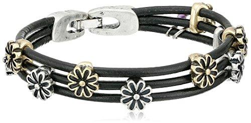 Lucky Brand Two-Tone Flower Woven Bracelet, 7.5