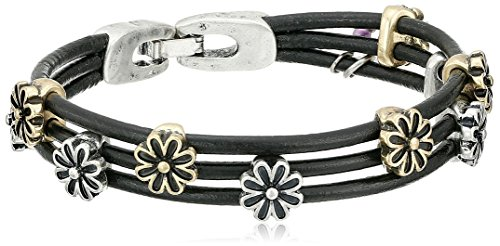 Lucky Brand Two-Tone Flower Woven Bracelet, 7.5'