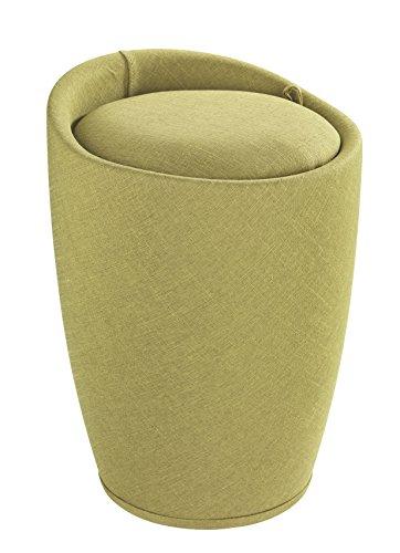 Wenko 22835100 Hocker Candy Green Leinenoptik - Wohnhocker, Badhocker, Wäschesammler mit abnehmbarem Wäschesack, ABS, 36 x 50.5 x 36 cm