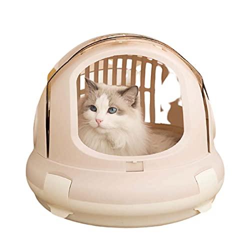 DUTUI Valigia Capsula Spaziale Cat House per Uso Interno Ed Esterno, Cuccia Chiusa, Gabbia Portatile da Esterno di Grande capacità,Rosa
