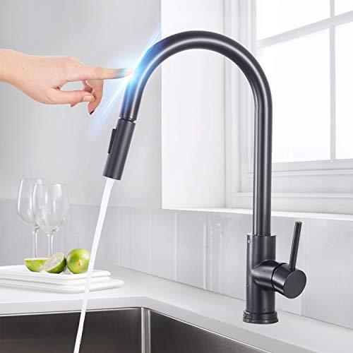SUGU - Grifo de cocina con sensor automático, con ducha extraíble, rango de giro de 360°, grifo monomando para fregadero, color negro