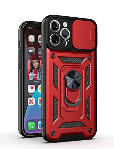 ZCDAYE Funda para iPhone XR, de grado militar, doble protección para teléfono [Adsorción de imán] con soporte de metal para lente deslizante cubierta protectora para iPhone XR-rojo