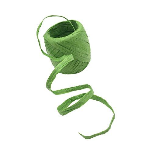20 Meter Blumenbast Gärtnerbast Bindebast Papierdraht Papierkordel Bindfaden Schnur Band für Geschenkverpackung DIY Deko - Grün