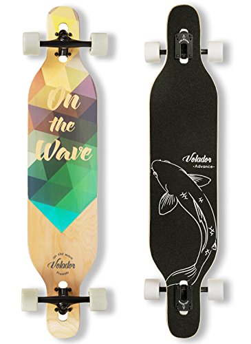VOLADOR Cruiser Complet Freeride Longboard 42 pouces (Drop Through Deck - Camber concave) (Solaire)