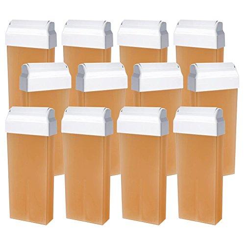 Wachspatrone NATURAL wasserlöslich Zuckerpaste für die Enthaarung mit Vliesstreifen großer Roller 100 ml 12 Stück