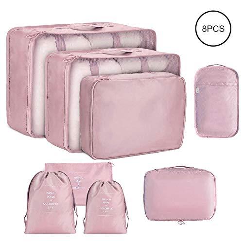 Organizador De Equipaje Viaje 8 En 1 Set, Multifuncional Bolsa para Maletas Organizadoras Impermeable Gran Transpirable Travel Storage Bags Para Viaje con Bolsa de Zapato Cosmético (rosado)