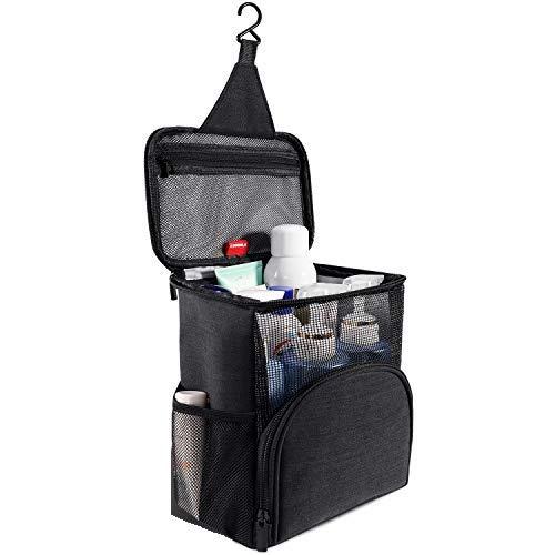 KUSOOFA Shower Tote Bag Travel Toiletry Bag, Hanging Shower Bag,Toiletry Bag with Quick Dry Technology Perfect for Women Men (B1-Black)