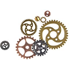 FOCCTS Jewelry Cogs 100 Grams Assorted Antique Steampunk Gears Charms Cogs, for Jewelry Making Accessory & Crafting, Mixed Colors #4