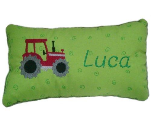 Grünes Schmusekissen * Kuschelkissen * roter Traktor * mit Namen bestickt * in zwei Größen