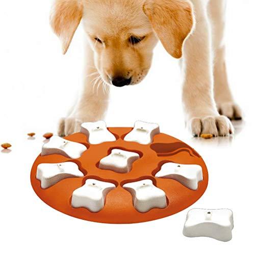 KUTO Juguete De Comida para Perros, Dispensador De Golosinas Juguete para Perros, Juguetes Alimentadores De Comida para Perros Alimentador Lento, Rompecabezas Interactivo Juguete, Naranja