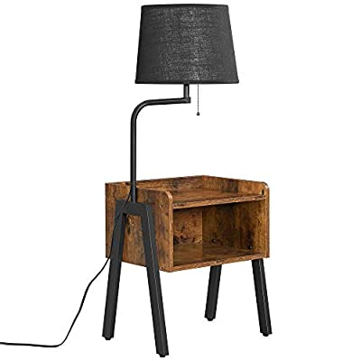 VASAGLE Floor Lamp, Nightstand with Lamp, Bedside Table, Sofa Side End Table, Steel Frame, Includes Bulb and Lamp Shade, Industrial, for Bedroom, Living Room, Rustic Brown and Black ULFL054B01