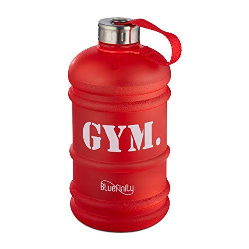 Bluefinity Botella de Agua para Deporte, Cantimplora XXL para Gimnasio, Libre de BPA y DEHP, 2 litros, Rojo