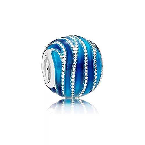 LIIHVYI Pandora Charms para Mujeres Cuentas Plata De Ley 925 Vórtice Azul Salvaje Adecuado S Compatible con Pulseras Europeos Collars