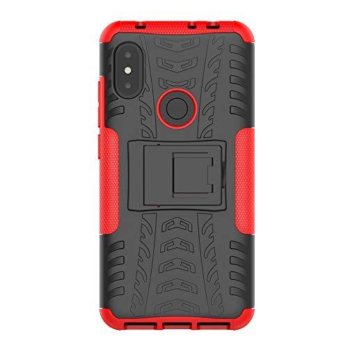 Gray Plaid Coque Xiaomi Redmi Note 6,2 in 1 TPU + PC Double Couche Hybride Armure Full Body Anti- Choc Housse Étui de Protection avec Stand pour Xiaomi Redmi Note 6 - Rouge