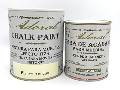 Adoral - Chalk Paint Pintura a la Tiza 750 ml + Cera Acabado Pintura Chalk Paint 375 ml
