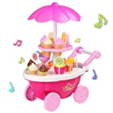 Profun 39pcs Carrito de Compras de Helados con Música e Iluminación Colorida, Juego de Simulación de Comida Niños Juego Educativo Set de Pastel