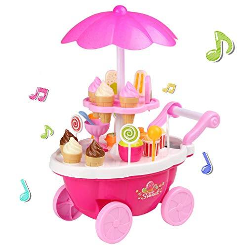 """【Carro de caramelos multifuncional】Este lindo carro de ruedas rosa libre con manillar facilita la entrada de los bebés pequeños. Además, la doble capa proporciona más espacio para que los """"vendedores"""" exhiban sus productos. Además, las luces de color..."""