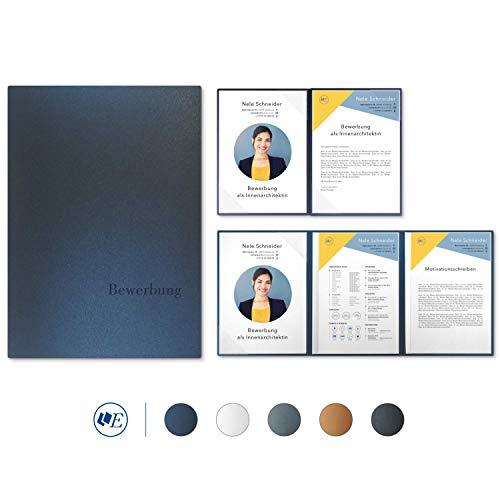 """5 Stück 4-teilige Bewerbungsmappen Esclusiva® Exzellent-plus in Nachtblau mit 2 Klemmschienen // in 1A-Premium-Qualität mit hochwertiger Flach-Prägung """"BEWERBUNG"""" // Produkt-Design von\""""Mario Lemani\"""""""