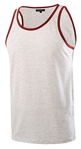 HETHCODE Men's Classic Basic Athletic Jersey Tank Top Casual T Shirts H.Oatmeal/Rusty L